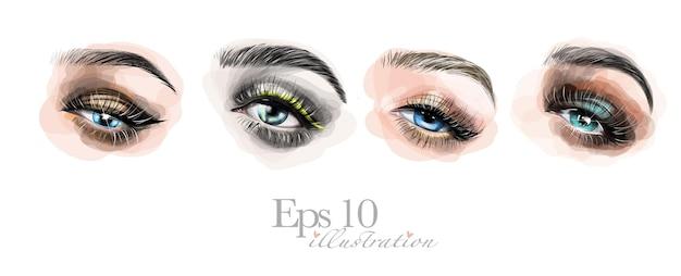 Conjunto de lindos olhos femininos desenhados à mão