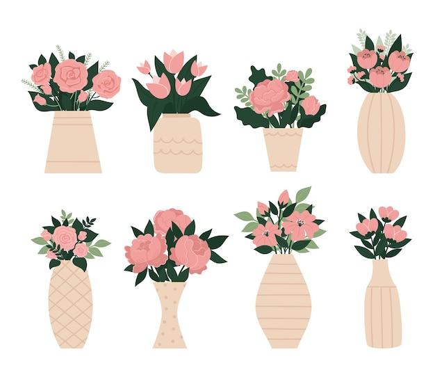 Conjunto de lindos vasos elegantes com um buquê de flores