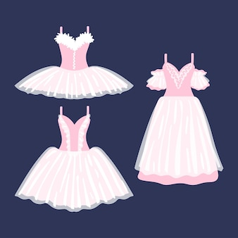 Conjunto de lindos vestidos de balé em um fundo escuro. mini, midi, maxi. ilustração vetorial.