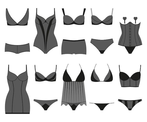 Conjunto de lingerie. roupa interior de mulher isolada no branco. ilustração colorida