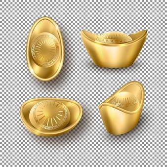 Conjunto de lingotes de ouro chineses isolados em fundo transparente
