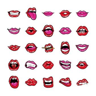 Conjunto de linha de arte pop de bocas e design de ilustração vetorial de estilo de preenchimento