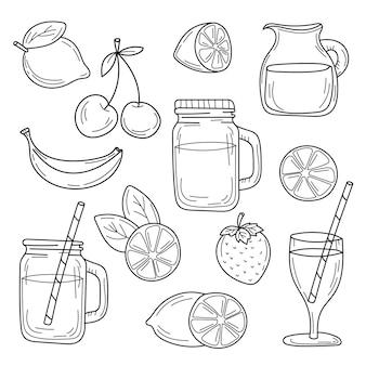 Conjunto de linha de coquetéis de verão desenhada em uma comida de esboço de vetor de fundo branco