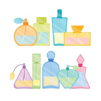 Conjunto de linha de cores de frasco de vidro de perfume masculino e feminino vintage.
