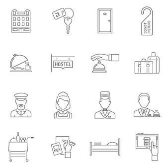 Conjunto de linha de ícones do hotel