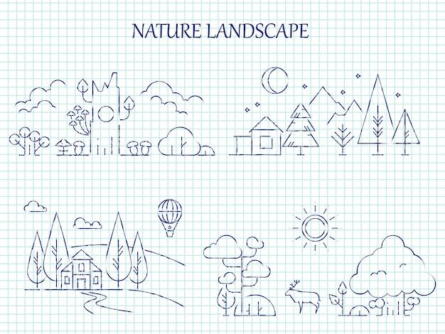 Conjunto de linha de paisagem natureza mão desenhada