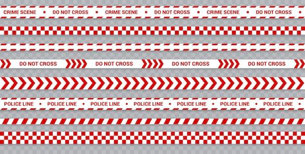 Conjunto de linha de polícia vermelha, fita de precaução e perigo para a cena do crime, zona restrita.