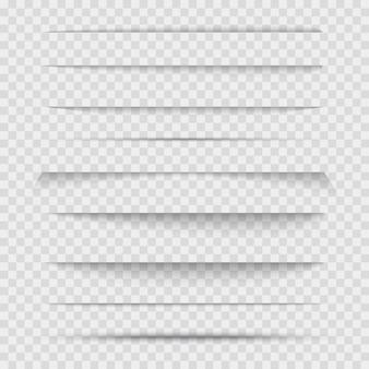 Conjunto de linha de separadores transparentes com sombras.