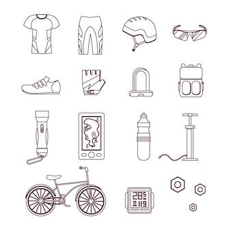 Conjunto de linha fina de bicicleta e acessórios. estilo de vida esportivo. estilo de design. ilustração vetorial