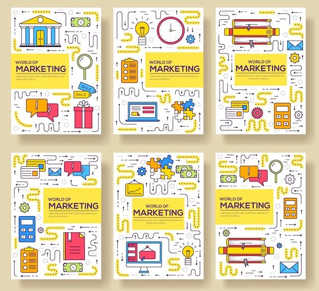 Conjunto de linha fina de cartões de brochura comercial. modelo de marketing de flyear, revistas, cartazes, capa de livro, banners. ilustrações de esboço de layout modernas