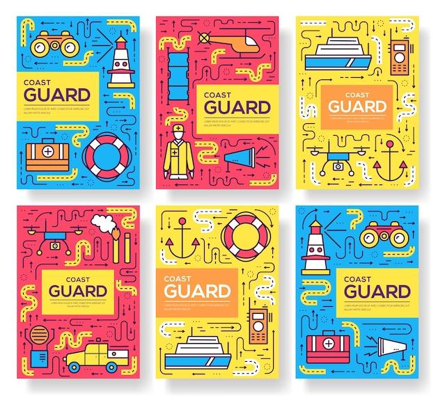 Conjunto de linha fina de cartões de brochura da guarda costeira. protegendo o modelo de pedido de panfletos, revistas.
