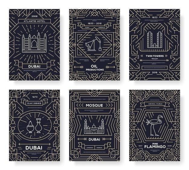Conjunto de linha fina de cartões de brochura de dubai. modelo de viagem do país de flyear, cartazes, capa de livro, banners.