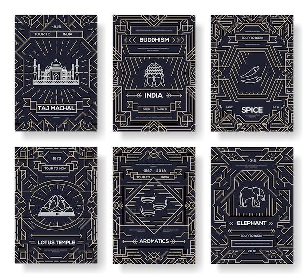 Conjunto de linha fina de cartões de brochura de índia. modelo de viagem do país de flyear, capa de livro, banners.