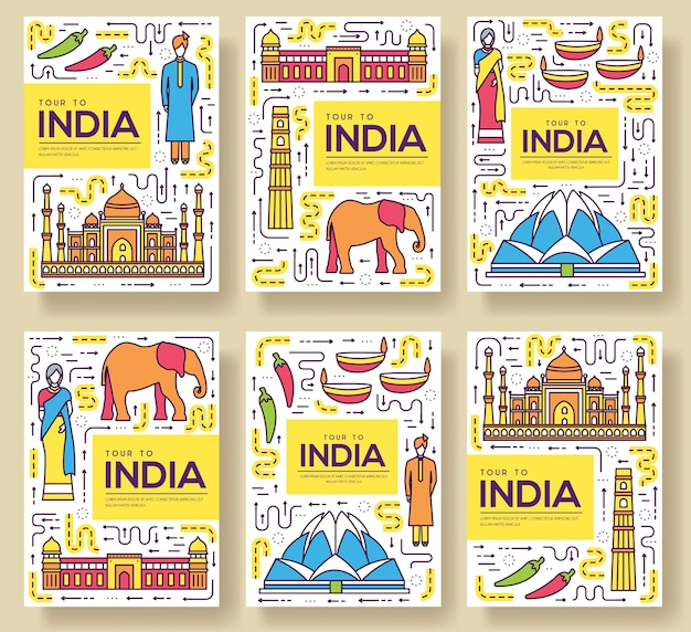 Conjunto de linha fina de cartões de brochura de índia. modelo de viagem do país de flyear, revistas, cartazes.
