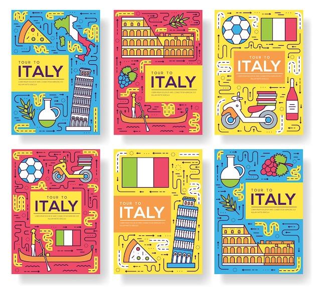 Conjunto de linha fina de cartões de brochura de itália. modelo de viagem pelo país de panfleto, revistas, pôsteres