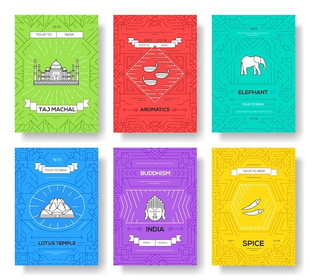 Conjunto de linha fina de cartões de brochura de vetor de índia. modelo de viagem do país de flyear, capa de livro, banners.
