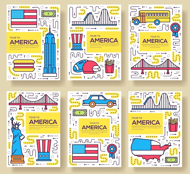 Conjunto de linha fina de cartões dos eua. modelo de viagem do país de flyear, revistas, cartazes, capa de livro, banners.