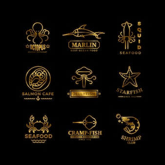 Conjunto de linha fina de logotipo de frutos do mar