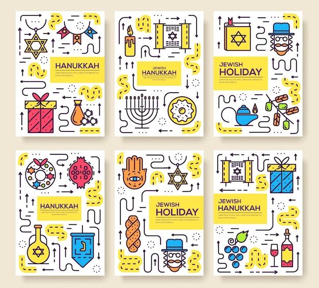 Conjunto de linha fina, feliz dia de hanukkah