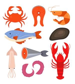 Conjunto de linha isolada de frutos do mar