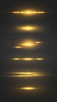 Conjunto de linha luminosa com faíscas em um fundo preto, efeito de luz, cor dourada.
