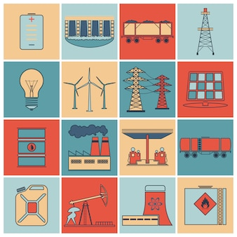 Conjunto de linha plana de ícones de energia