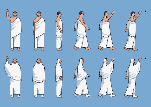 Conjunto de linha simples de figura de peregrinação hajj