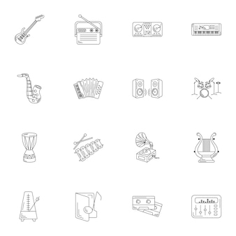 Conjunto de linha simples de ícones de instrumentos musicais.