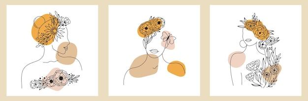Conjunto de linhas abstratas elementos florais de silhueta de rosto de mulher