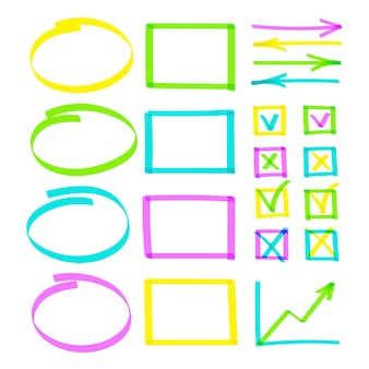 Conjunto de linhas de destaque de mão desenhada observe objetos