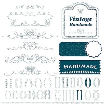 Conjunto de linhas de divisor vintage mão desenhada