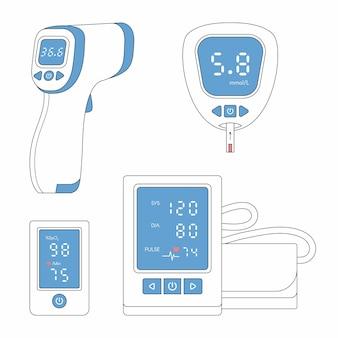 Conjunto de linhas de ícones de dispositivos médicos tonômetro glicosímetro medidor de glicose no sangue oxímetro de pulso termômetro