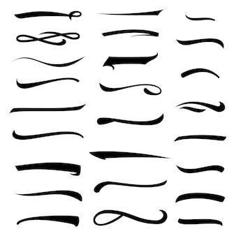 Conjunto de linhas de letras sublinhadas em branco