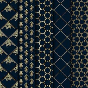 Conjunto de linhas de minimalismo dourado com padrão art déco e artes geométricas vintage e linhas decoradas com padrões sem emenda