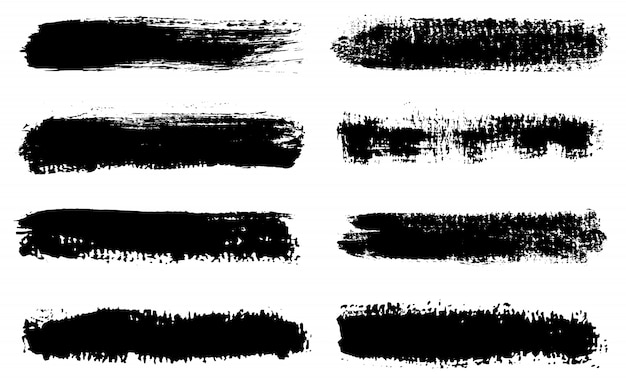 Conjunto de linhas de tinta de mão desenhada grunge