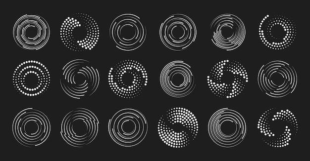 Conjunto de linhas de velocidade pontilhadas de meio-tom pretas grossas