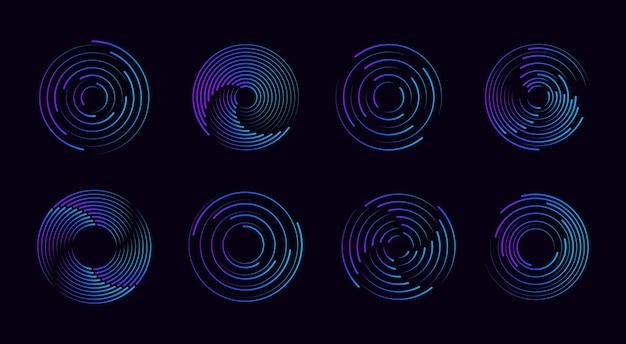 Conjunto de linhas de velocidade pontilhadas de meio-tom preto e espesso quadros de círculo de meio-tom redondo abstrato