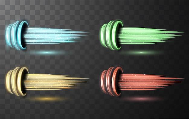 Conjunto de linhas espirais brilhantes brilhantes abstraem velocidade da luz e trilha ondulada brilhante