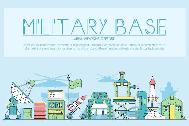 Conjunto de linhas finas de diferentes armas de foguetes e veículos em base militar