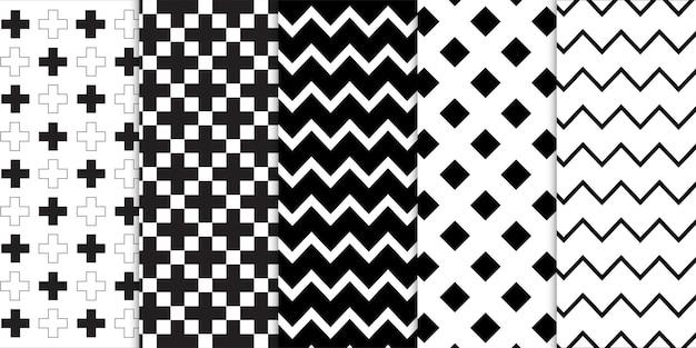 Conjunto de linhas geométricas e abstratas em preto e branco que forma padrões de listras