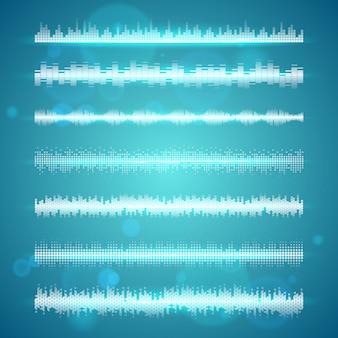 Conjunto de linhas horizontais de exibição de ondas sonoras