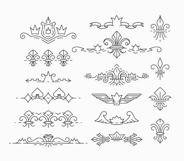 Conjunto de linhas, símbolos reais vazios, cabeçalhos de flor de lis e coroa, divisores.