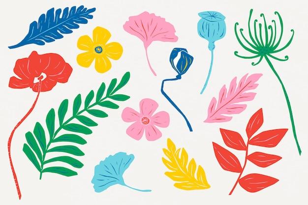 Conjunto de linogravura floral vintage com flores coloridas
