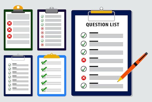 Conjunto de lista de pesquisa ou relatório de lista de questionários em vetor eps de estilo simples