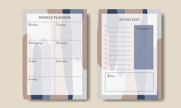 Conjunto de lista de tarefas do planejador semanal com fundo abstrato azul-acastanhado para impressão