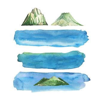 Conjunto de listras azuis em aquarela e rochas de ilhas.
