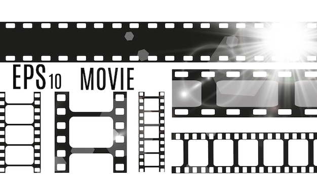 Conjunto de listras de filme isoladas em fundo transparente. rolo de tira de filme. fundo de cinema.
