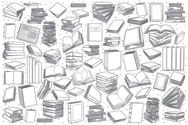 Conjunto de livraria desenhada de mão