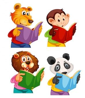 Conjunto de livro de leitura de animais