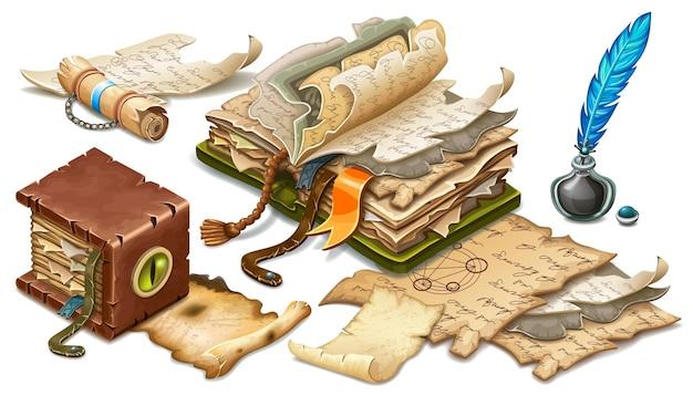 Conjunto de livros antigos, pergaminhos, pergaminhos, papéis